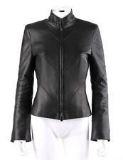 ESCADA Black Nappa Leather Zipper Front Long Sleeve Jacket Coat Size 34