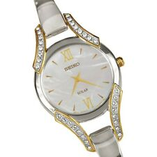 Seiko SUP214 Women's Mother of Pearl Dial Solar Swarovski Crystal Accented Watch