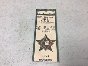 Baltimore Orioles Baseball Ticket Stub - Vs Texas Rangers - Aug 20 1993