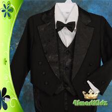 5 Pcs Set Formal Wedding Tuxedo Suit Vest Christening White Boy Baby Size 0 #011