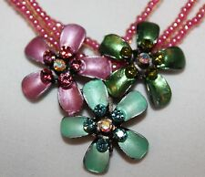 """Pink Beaded Necklace with Tri-Colored Pendant 16"""""""