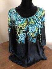 Avenue Plus Size 18/20 Black Blue Floral Blouse 3/4 Sleeves