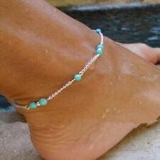 turquoise bead Charm Anklet Barefoot bracelet Chain ankle sandal gift Uk