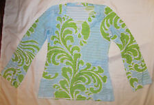 BEFORE + AGAIN BANDA very soft ribbed texrued fern floral print long sleeve top