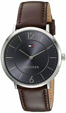 BRAND NEW Tommy Hilfiger Men's Analog Gray Dial Brown Leather Watch 1710352