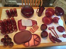 Vintage Tupperware acrylic cranberry HUGE lot 58 pieces storage sets bowls cups