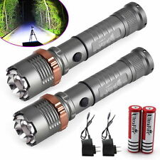 2Pcs Police Tactical 6000LM CREE XM-L T6 LED Flashlight Torch +Battery+Charger