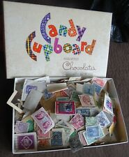 Candy Box full of stamps from estate sale, many look very old, some from Canada