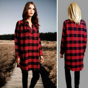 MISSGUIDED TOP SIZE 14 RED MIX CHECK TUNIC COLLARED FLANNEL #5