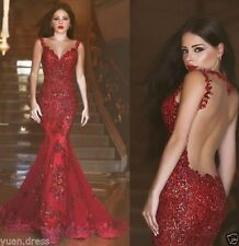 Red Mermaid Scoop Neck Evening Dress Sequin Sleeveless Prom gowns Bridal Gowns