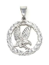 """14k White Gold Solid Diamond Cut Flying Eagle in Wreath Pendant Charm 1.38"""" 4.5g"""