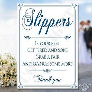 Slippers Feet Wedding Tired Grab Pair Dance some more Sandals Shoes Card Sign A4