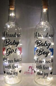 A BRAND NEW BABY GIRL / BOY DIY WINE BOTTLE VINYL DECAL STICKER DIY GIFT