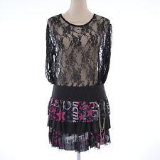 Mini Jupe sexy Femme taille 36 38 noir rose Isla Bonita avec chainette ZAZA2CATS