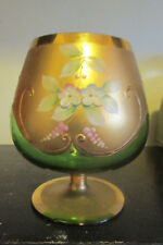 Large Moser Green Glass Gold Gilt Bohemian Brandy Snifter with Enamel Flowers