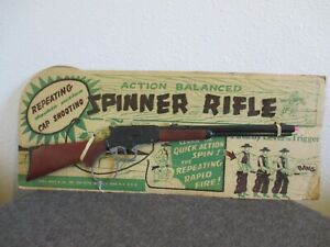 """NOS 1950'S LOUIS MARX SPINNER RIFLE 25.5"""" TOY ACTION BALANCED REPEATING CAP"""