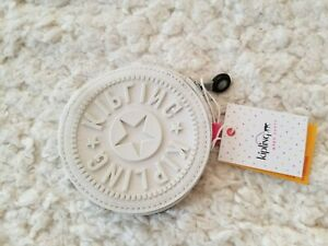 Kipling Marguerite Aeryn Zip Toggle Nylon Coin Purse Pouch Wallet Winter White