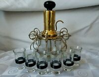 Art Deco Brass Liquor Dispenser Pump Six BLACK Celluloid Band Shot Glasses RARE