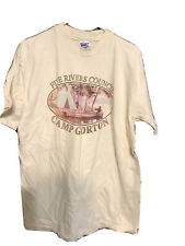 Boy Scouts Vintage Camp Shirt Men Large Tee Single Stitch Five Rivers Council