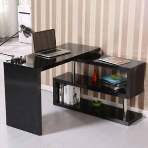 Corner L-Shaped Computer Desk PC Laptop Table Workstation Home Office w/ Shelves