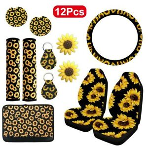 12pc Sunflower Universal Car Truck Seat Cover Protector Interior Accessories Set