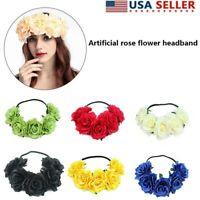 US 5 Heads Crown Rose Flower Headband Hairbands Wedding Garland Headpiece Women
