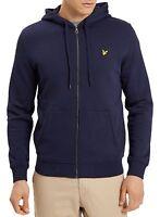 Lyle & Scott Mens Cotton Zip Up Hooded Sweatshirt Top Loopback Hoodie Navy Blue