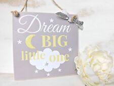 Handmade Baby Nursery Sign Plaque Dream Big Little One Gift Shabby Chic Gift