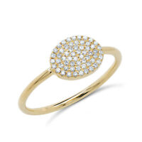 0.17 CT 14K Yellow Gold Natural Round Cut Diamond Pave Oval Shaped Ring Cocktail