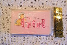"""Vintage Birth Announcements Card """"It's A Girl"""" LOT Twelve NOS NIP Pink -USA Made"""