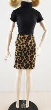 New Silkstone Classic Camel Coat Barbie Doll Leopard Print Velvet Skirt & Shirt
