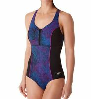 Speedo Womens Swimwear Purple Blue Size 6 Endurance Touchback One Piece $88- 032