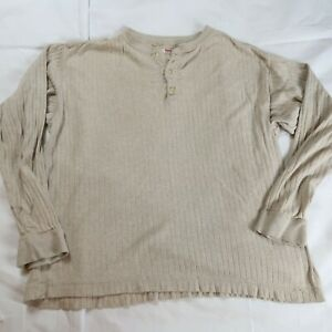 Levi's Men's Size Large Beige Ribbed Henley Shirt Long Sleeve Pullover Soft