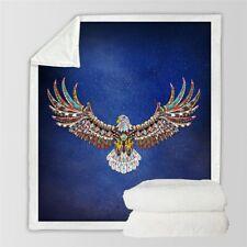 Eagle Animal Bird Gem Night Sky Sherpa Plush Throw Blanket Fleece Bed Sofa Couch