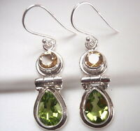 Faceted Citrine and Peridot 2-Gem Teardrop 925 Sterling Silver Dangle Earrings
