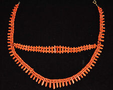 """Exquisite Antique Natural Undyed Salmon Red Coral Necklace 14"""" Long (READ)"""