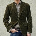 Men's Dark Green Corduroy Blazer Sport Jacket Suit Two Button Notch Lapel Tailor