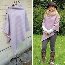 Beautiful Tweed poncho wrap cape raspberry pinks blue green with dusky satin