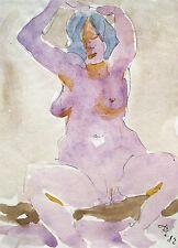 Rudolf disco 1918-2002 Solnhofen/Acquerello/sedentarie atto femminile/1982