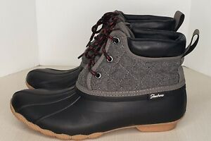 Skechers Womens Pond Lil Puddles  Black Winter Boots 10 Medium (B,M) No Liners