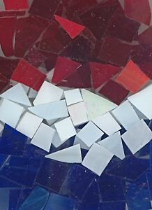 Mosaic Glass: RED, WHITE and BLUE, 5 ounce Stained Glass pack (about 100 Pieces)