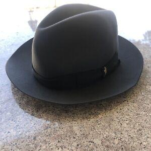 Vintage Borsalino Classic Fur Felt Fedora size 7 1/4 (59) Made In Italy Grey Hat
