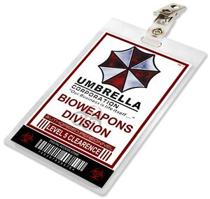 Resident Evil Umbrella Corporation Bioweapons Div ID Card Badge Cosplay Name Tag