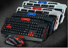 Black and Red 2.4GHz Wireless Gaming Keyboard and Mouse Set for PC Laptop Mac