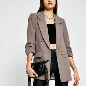 BNWOT RIVER ISLAND Ruched Sleeve Blazer, Taupe size 12
