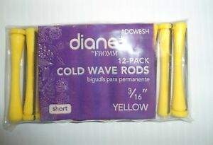 """Diane 3/16"""" Cold Wave Rods Curlers Hair Perm #DCW8SH - 12-pieces - Yellow Short"""