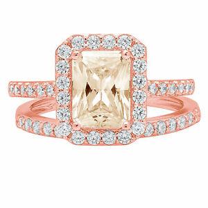 2.22ct Emerald Yellow Moissanite 18k Pink Gold Halo Wedding Bridal Ring Band Set