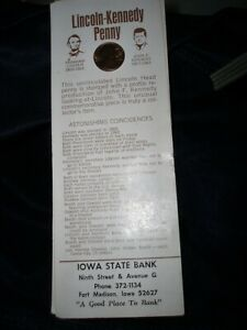 #3 1974-D LINCOLN KENNEDY PENNY ASTONISHING COINCIDENCES CARD FT MADISON IA BANK