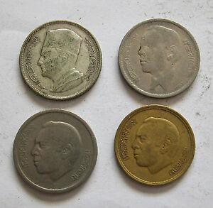 MOROCCO-4 COINS- SILVER DIRHAM 1960Y# 55,NICKEL DIRHAM 1965 Y#56,1974 Y#63,20SAN