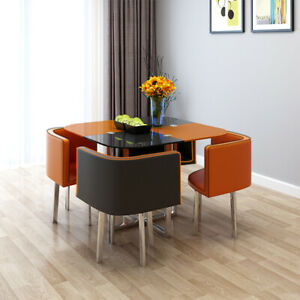 Tempered Paint Glass Dining Table/Cafe Table & 4 Chairs Set Kitchen Living Room